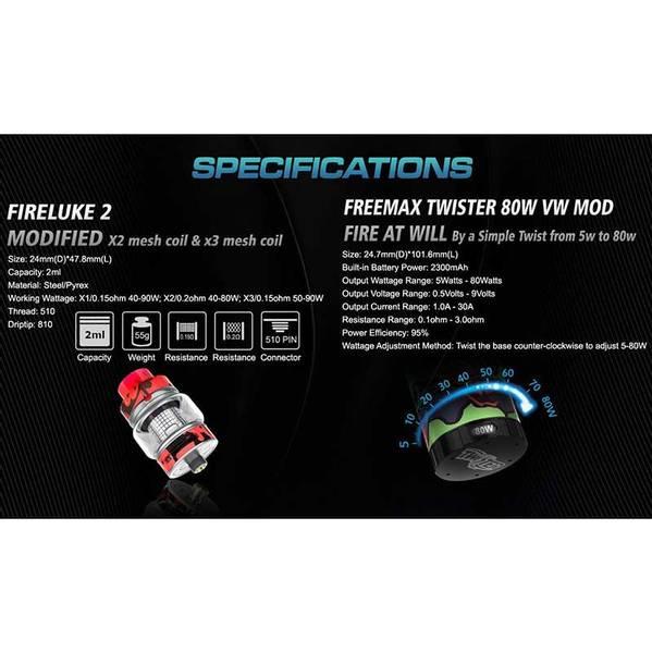 FreeMax Twister 80W Kit m/Fireluke 2 - 5 ml Tank